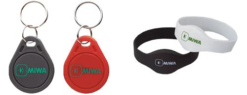 MIWA key fobs and wristbands